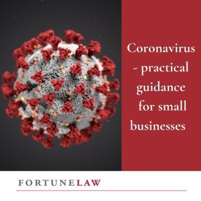 Tile called Coronavirus - practical guidance for small businesses. Purpose is to be a visual and literal sign post to an article on the Fortune Law website